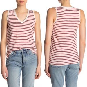 Madewell V-Neck Red Stripe Tank Top Size XL